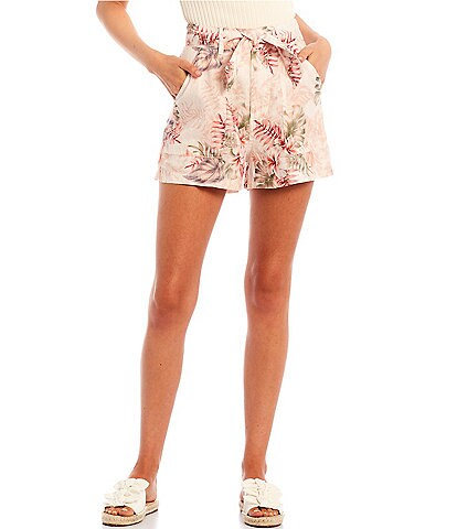 Guess Brynn Tropical Floral Mid Rise Linen Shorts