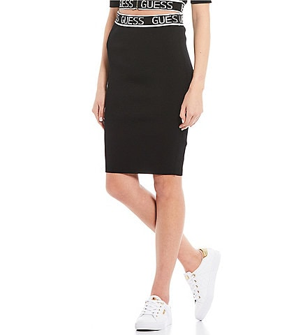 Guess Coordinating High Rise Guess Logo Rib Knit Skirt
