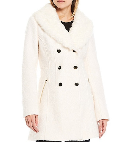 Guess Double Breasted Detachable Faux Fur Collar Boucle Wool Coat