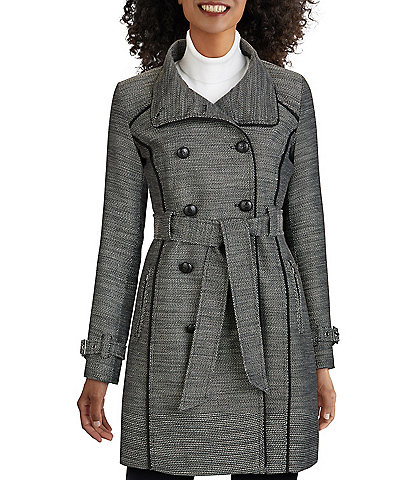 Guess Double Breasted Pipe Trim Belted Tweed Trench Coat