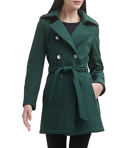 Guess Double Breasted Water Resistant Belted Point Collar Tie Waist Hooded Trench Coat