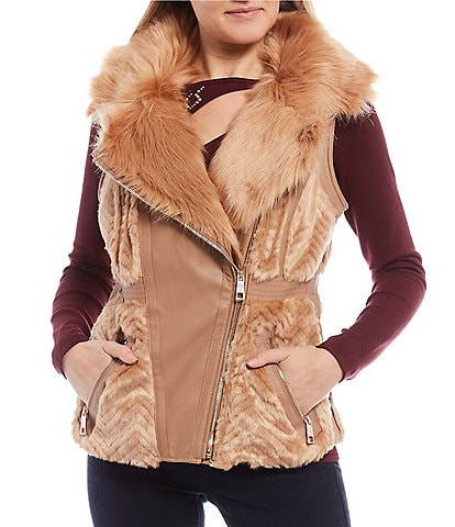 Guess Faux Fur Collar Zip Front Vest