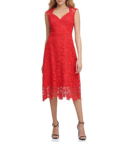 Guess Floral Lace Fit & Flare Dress