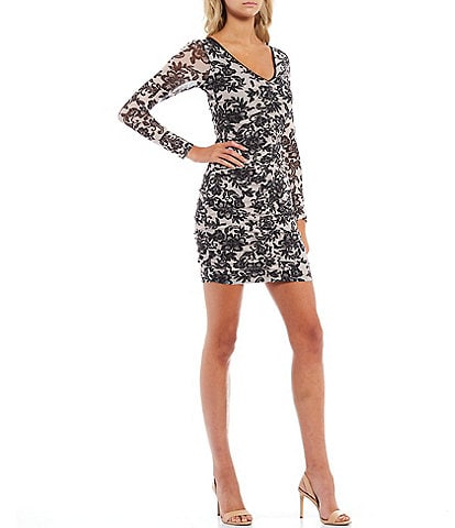 Guess Floral Mesh V-Neck Long Sleeve Sheath Dress