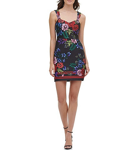 Guess Floral Print Sleeveless Sweetheart Neck Scuba Sheath Dress