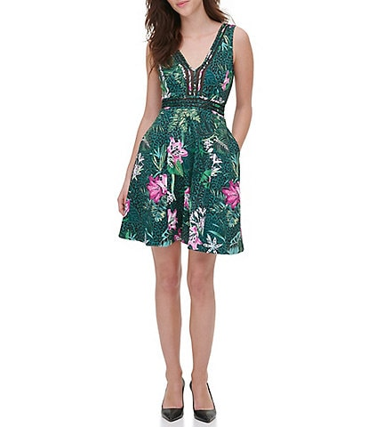 Guess Floral Sleeveless V-Neck Scuba Fit and Flare Dress
