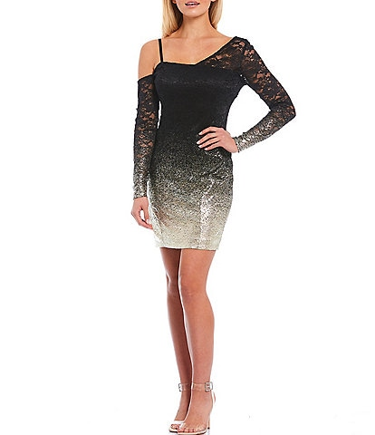 Guess Foiled Ombre Stretch Lace Asymmetric Neck Long Sleeve Sheath Dress