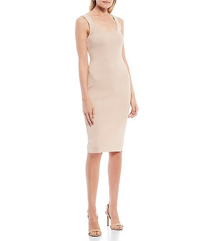 Guess Gia Sleeveless Rib-Knit Back Slit Midi Dress