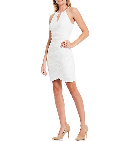 Guess Round Keyhole Neckline Lace Tulip Hem Cotton Blend Sleeveless Sheath Dress