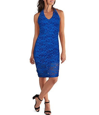 Guess Halter V-Neck Sleeveless Floral Lace Sheath Dress