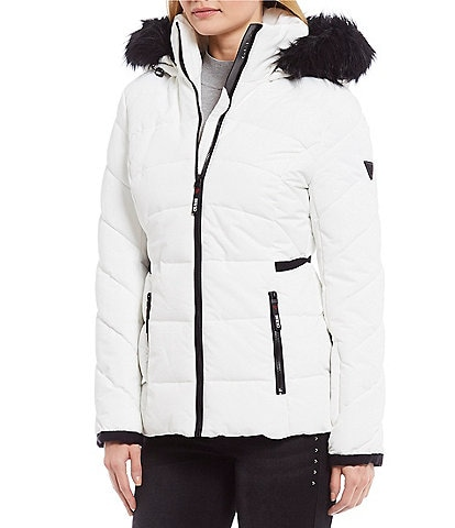 Guess Heavy Poly Puffer Faux Fur Hood Trim Jacket