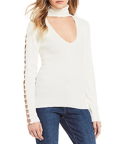 Guess Holly O-Ring Turtleneck with Sleeve Detail Sweater