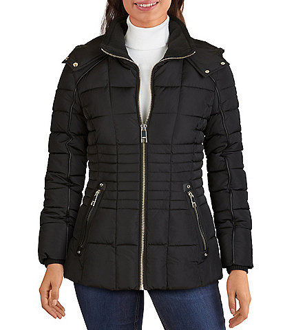 Guess Hooded Down Zip Front Puffer Coat