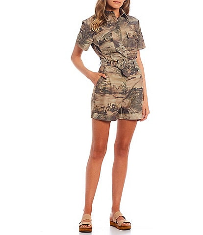 Guess Ilaria Camo Short Sleeve Button Front Romper