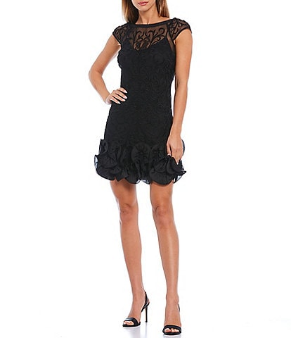 Guess Illusion Lace Cap Sleeve Ruffle Hem Sheath Dress