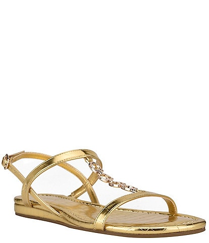 Guess Jillen Embossed Chain Detail Banded Sandals