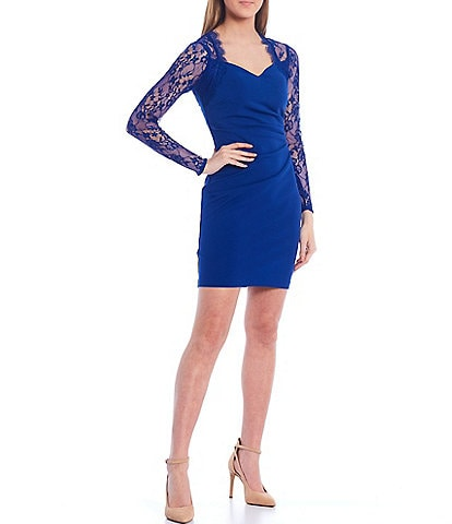 Guess Lace Sleeve Scuba Crepe Sheath Dress