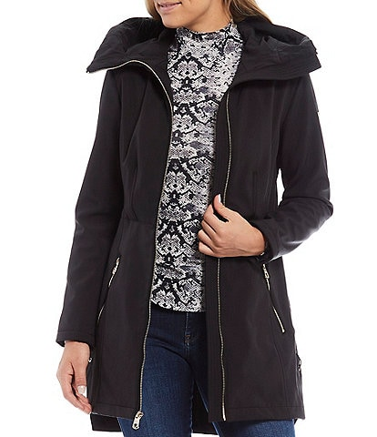 Guess Lace Up Side Hooded Water Resistant Coat