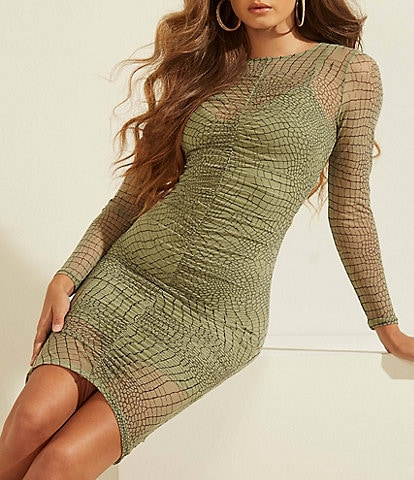 Guess Lauren Snake Long Sleeve Mesh Dress
