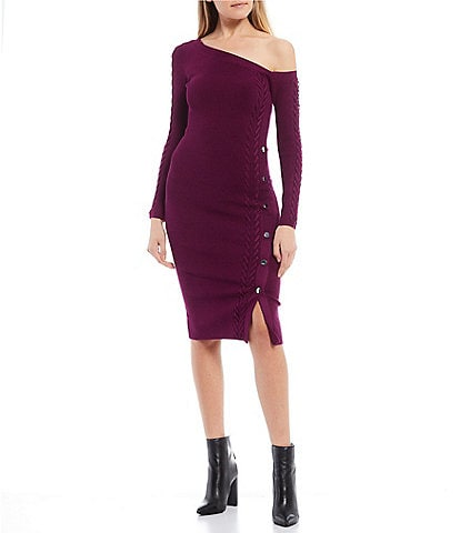 Guess Leah Off-The-Shoulder Lace Up Button Detail Sweater Dress