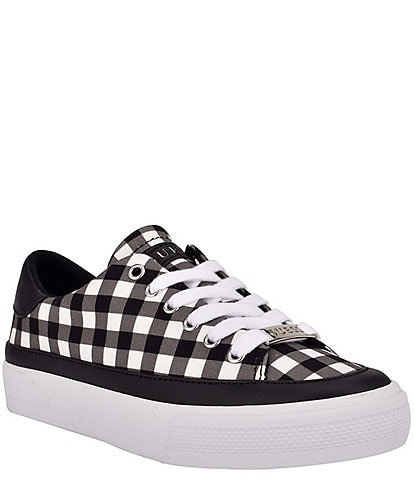 Guess Leenie Gingham Printed Lace-Up Sneakers
