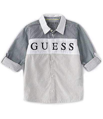 Guess Little Boys 2T-7 Long-Sleeve Pieced Striped Oxford Shirt