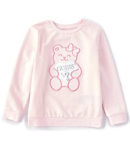Guess Little Girls 2T-7 Long-Sleeve Metallic Embroidered Graphic Active Top