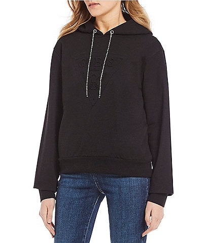 Guess Long Sleeve Jeweled String Logo Hoodie