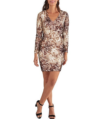 Guess Long Sleeve V-Neck Snake Print Mesh Sheath Dress