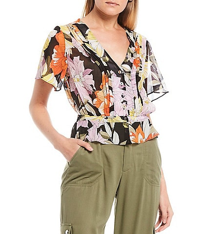 Guess Maritza Floral Print Flutter Sleeve Button Front Top