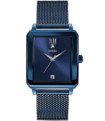 Guess Men's Blue Diamond Rectangular Watch