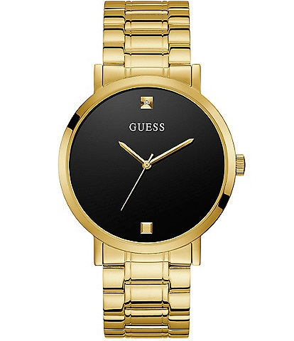 Guess Men's Gold-Tone and Black Diamond Analog Watch