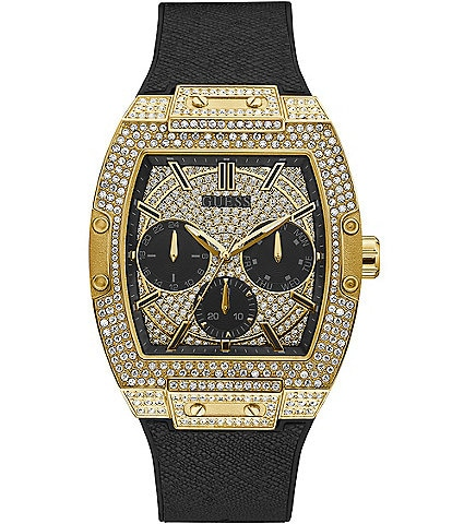 Guess Men's Gold-Tone Crystal Multifunction Watch