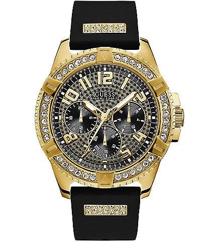 Guess Men's Gold-Tone Black Dial Multifunction Watch