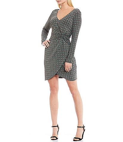 Guess Metallic Knit Geo Print Side Twist Long Sleeve Faux Wrap Dress