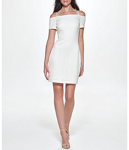 Guess Off-the-Shoulder Short Sleeve Cable Knit Lined Mini Dress