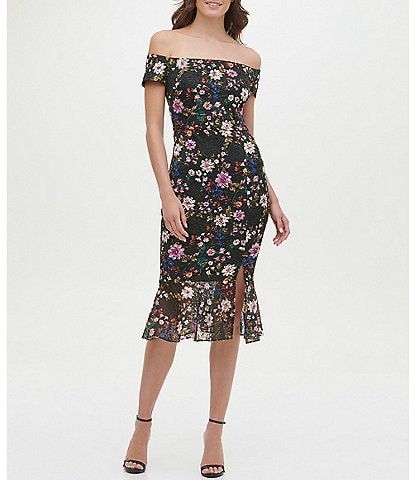 Guess Off-The-Shoulder Floral Lace Flounce Hem Midi Dress