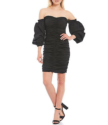 Guess Off-the-Shoulder Ruched Ballon Sleeve Stretch Cotton Sheath Dress