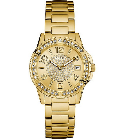 Guess Pav Analog & Date Stainless Steel Bracelet Watch
