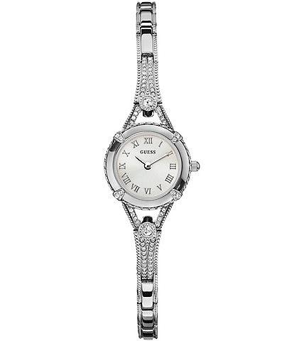 Guess Petite Silvertone Crystal Adjustable Bracelet Dress Watch