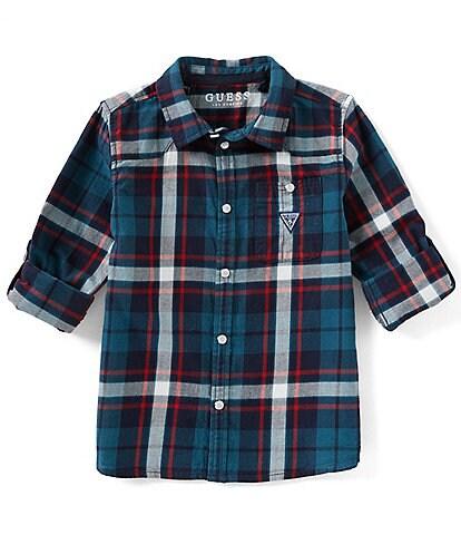 Guess Plaid Little Boys 2T-7 Long Sleeve Plaid Woven Shirt