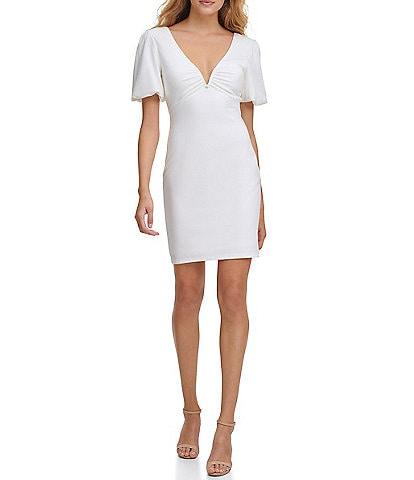 Guess Ponte V-Bar Neck Short Sleeve Knit Dress