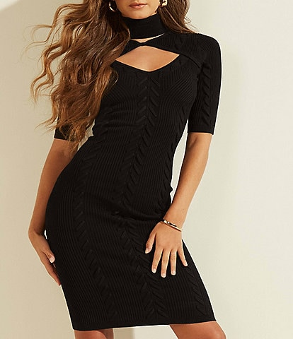 Guess Renata Laced Cutout Detail Rib Knit Dress