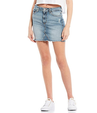 Guess Rue High-Rise Button-Front Mini Skirt