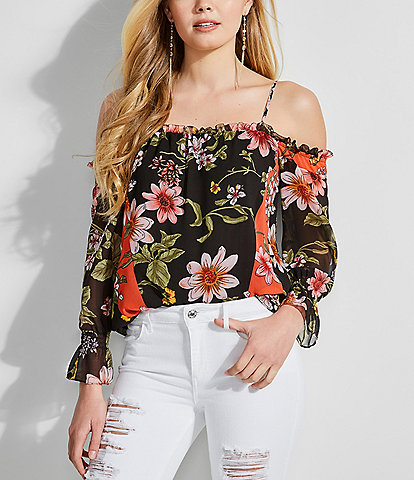 55a92bedef17a Guess Savina Floral Long Sleeve Cold Shoulder Top
