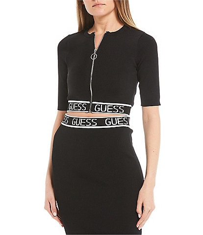 Guess Short-Sleeve Coordinating Logo Zip-Front Cropped Top