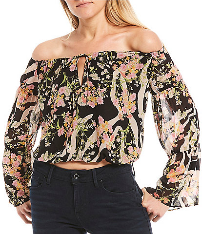 Guess Silia Floral/Stripe Off-The-Shoulder Cropped Top