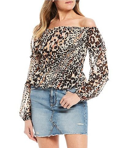 Guess Simi Leopard Print Off-The-Shoulder Top