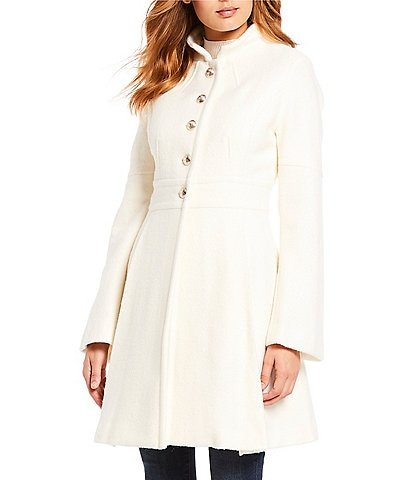 Guess Single Breasted Button Front Skirted Coat