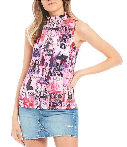 Guess 40th Anniversary Magazine Print Top